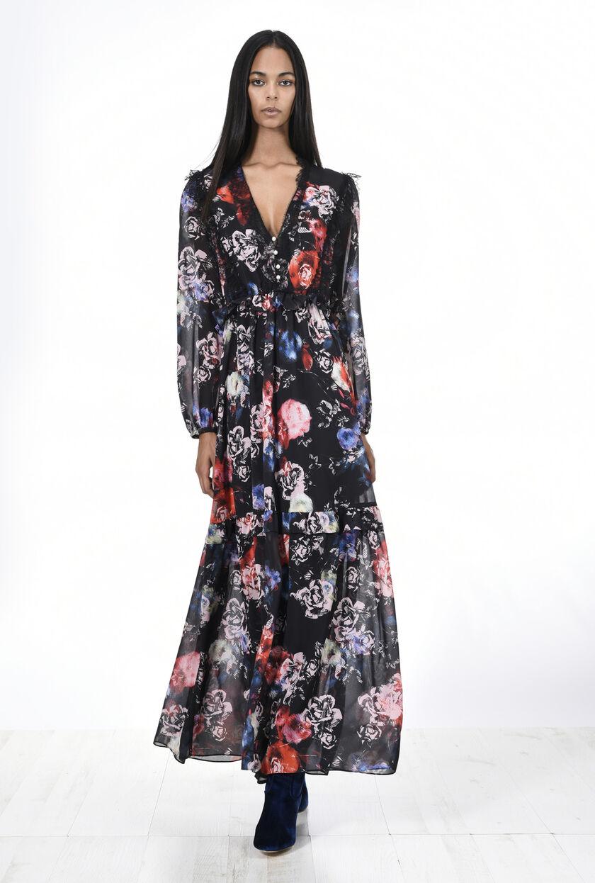 Vestido de crepé georgette con estampado floral