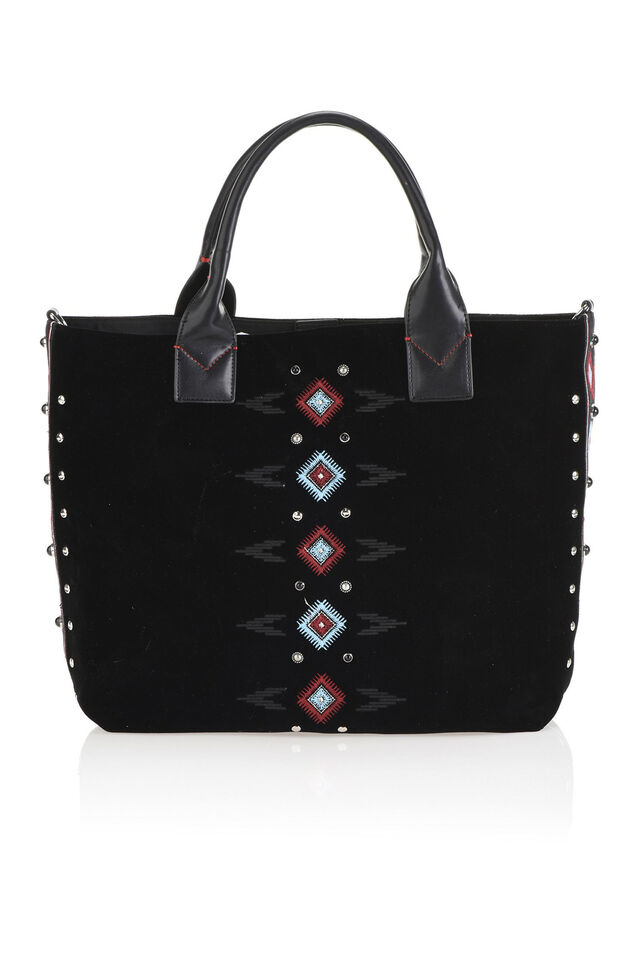 Maxi shopping bag in velvet with embroidery