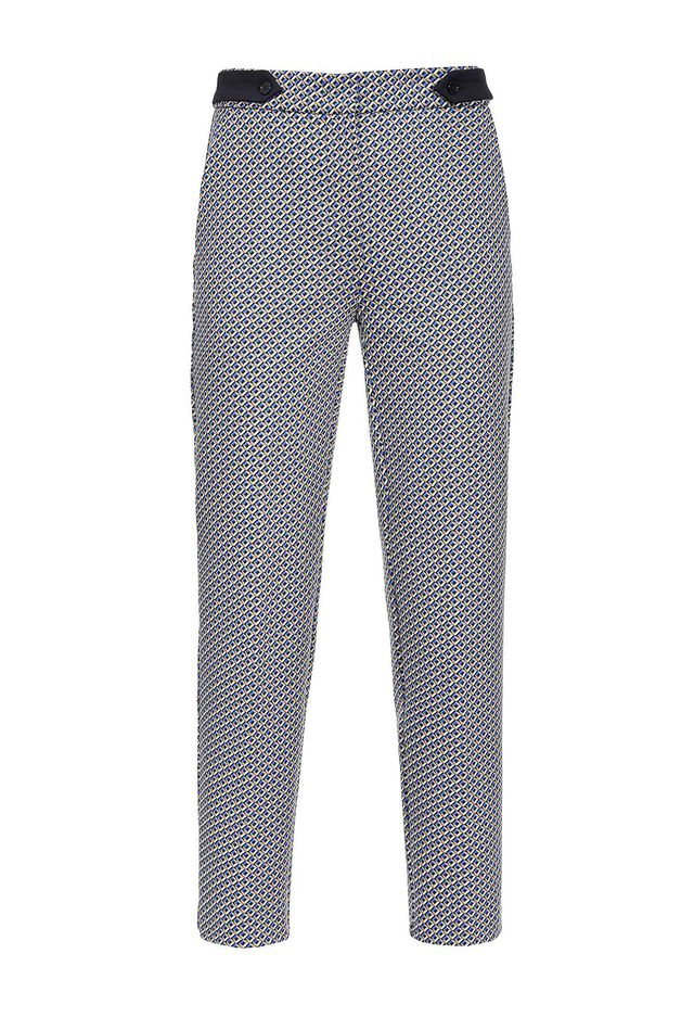 Pantaloni in punto stoffa jacquard disegno geometrico