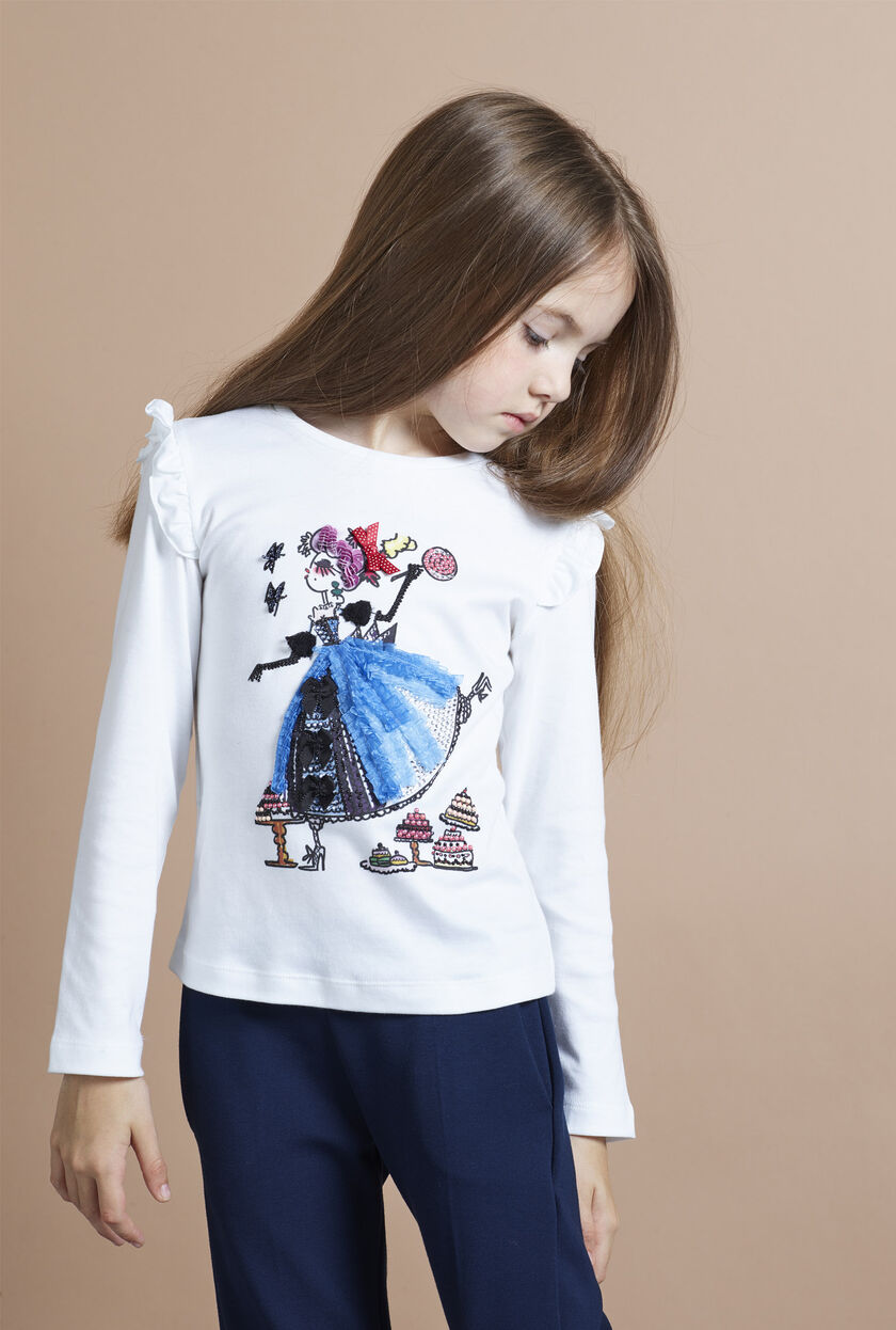 Stretch jersey long-sleeve tee with prints and appliqués