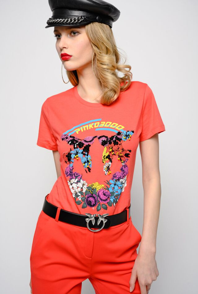 Slim floral Love Birds T-shirt