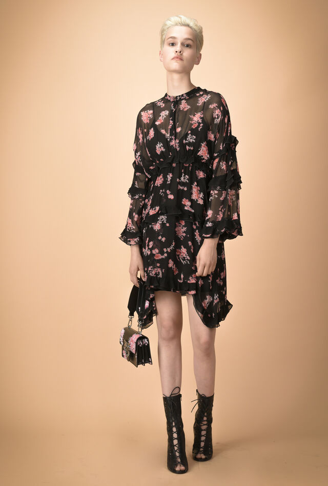 Floral creponne shirtwaister dress with ruffles