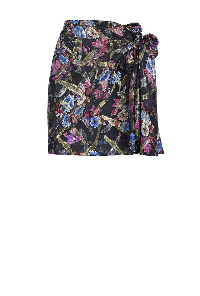 Floral print fil coupé mini skirt