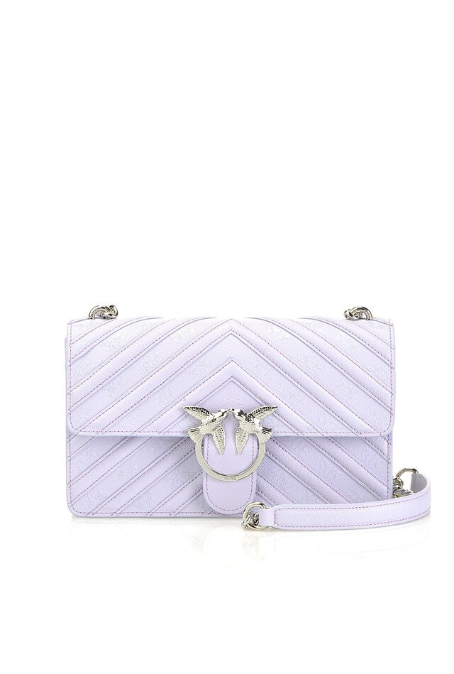Love Bag Stripes in pelle con stampa Love Birds