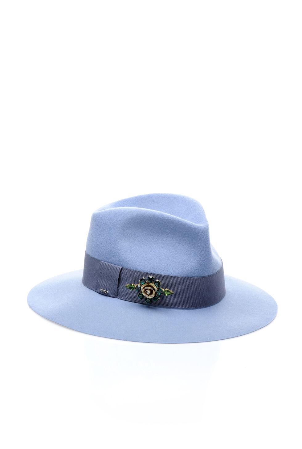 Felt hat with gemstones