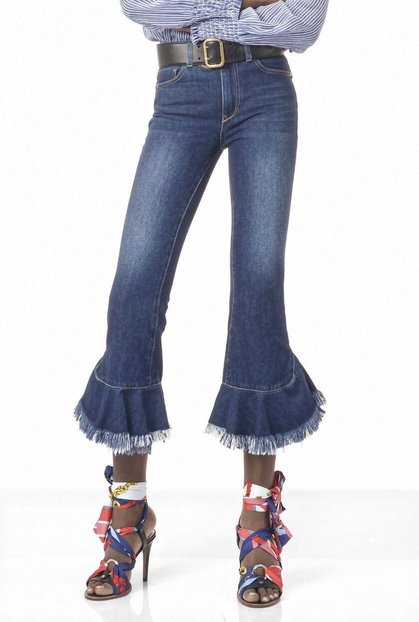 Jeans cropped a vita media con balze