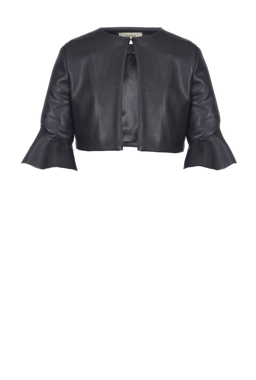 Faux leather shrug