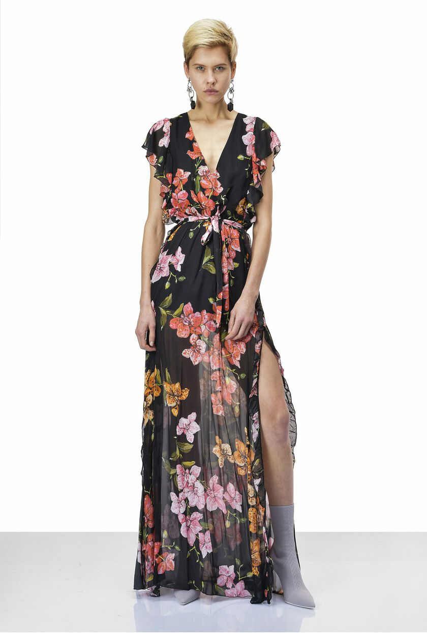Georgette dress with floral pattern