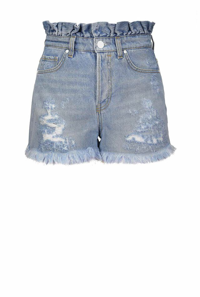 Shorts in denim vintage con rouches