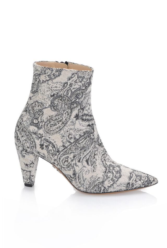 Ankle boots in jacquard fabric