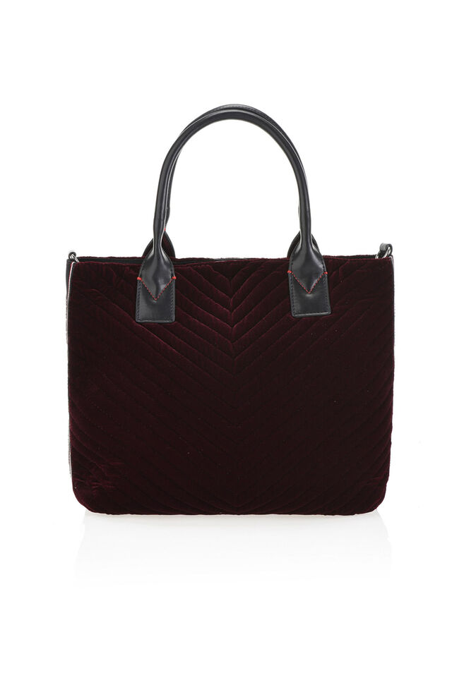 Shopping bag in chevron velvet