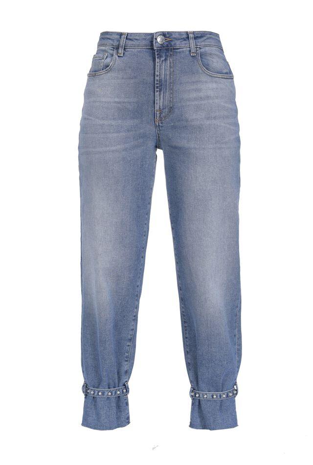 Jeans mom-fit con effetto cavigliera