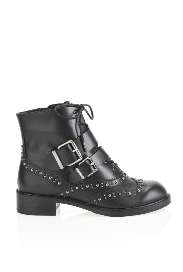 Leather lace-up ankle-boots with studs