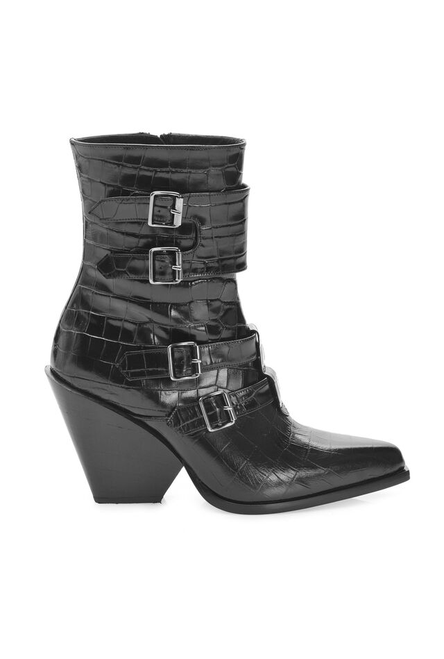 Western style ankle boots with buckles