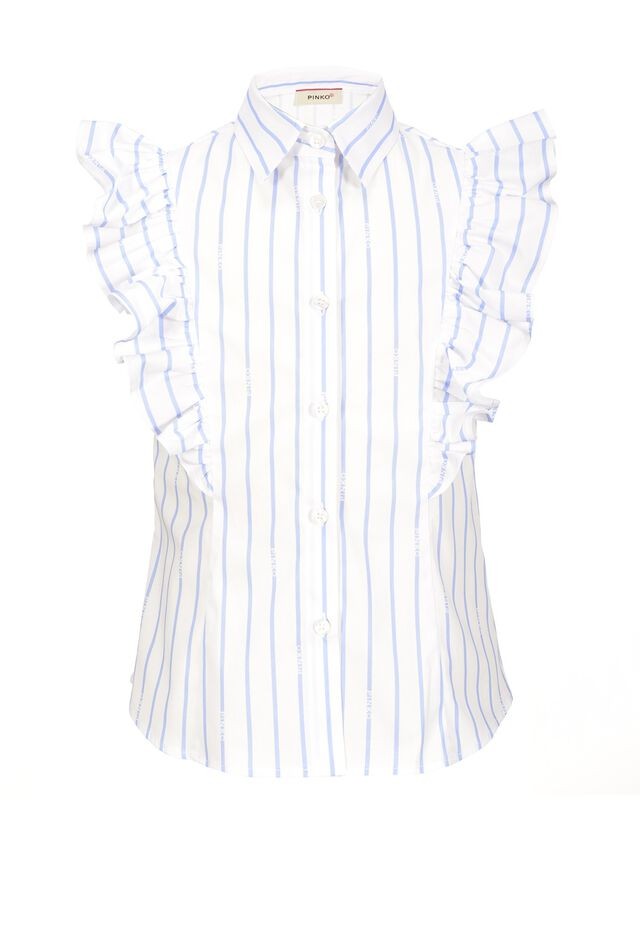 Logo stripe stretch cotton shirt