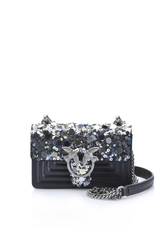 Mini Love Bag Paillettes in leather