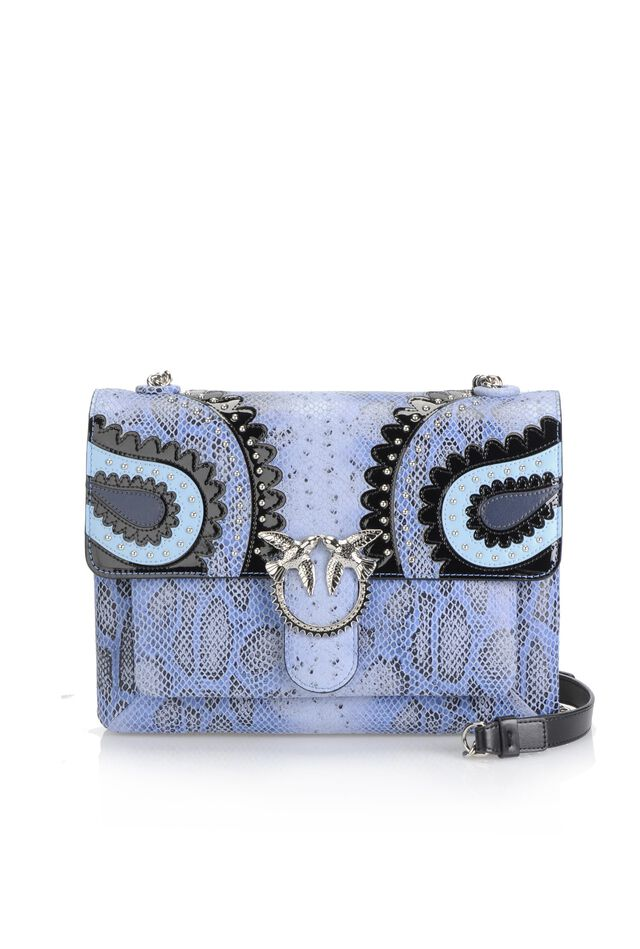 Big Love Bag Soft in pelle stampa pitone con intarsi