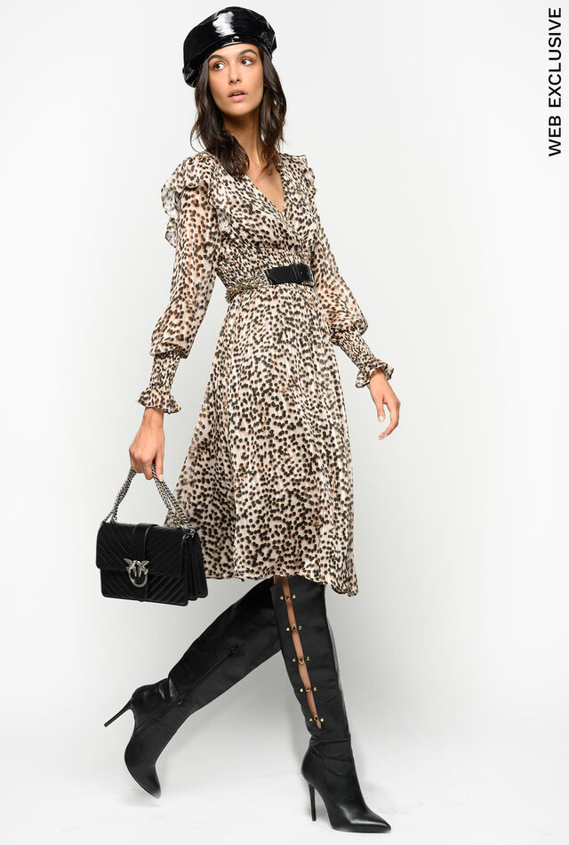 Animal polka dot pattern jacquard dress