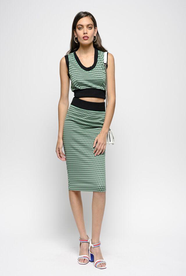 Milano stitch geometric jacquard skirt