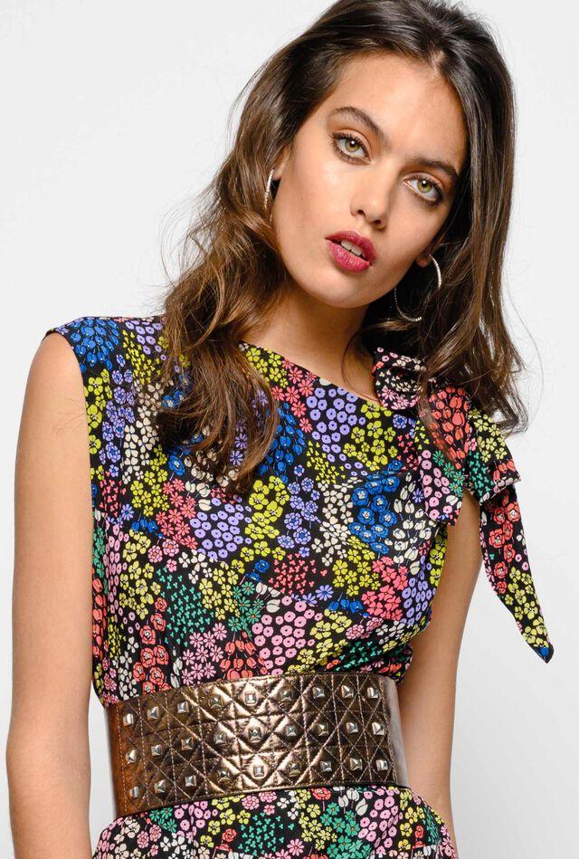 Asymmetrical floral blouse