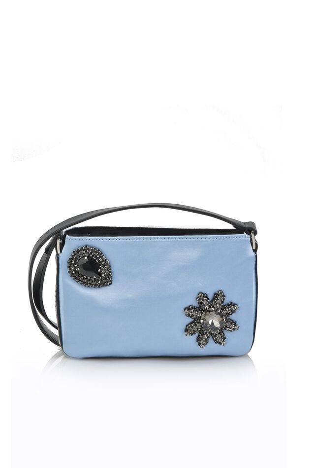 Mini Pinko Bag in satin with shoulder strap and jewel appliqués