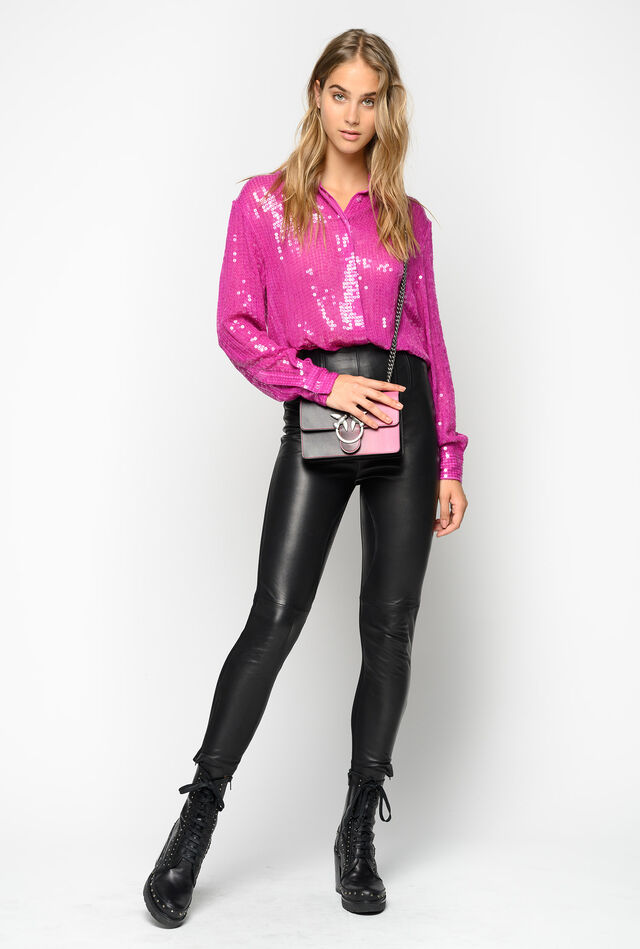 Leather and technical fabric leggings