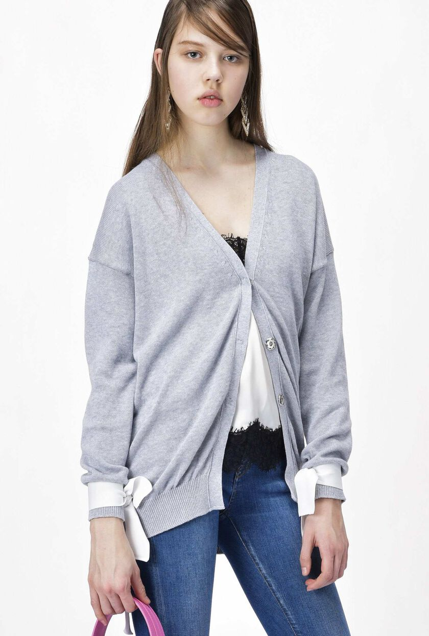 Cotton flat-knit cardigan with embroidery
