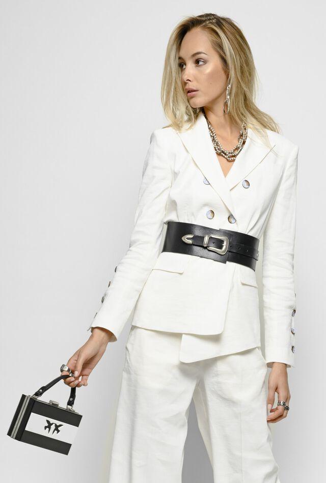 Linen and viscose cloth blazer