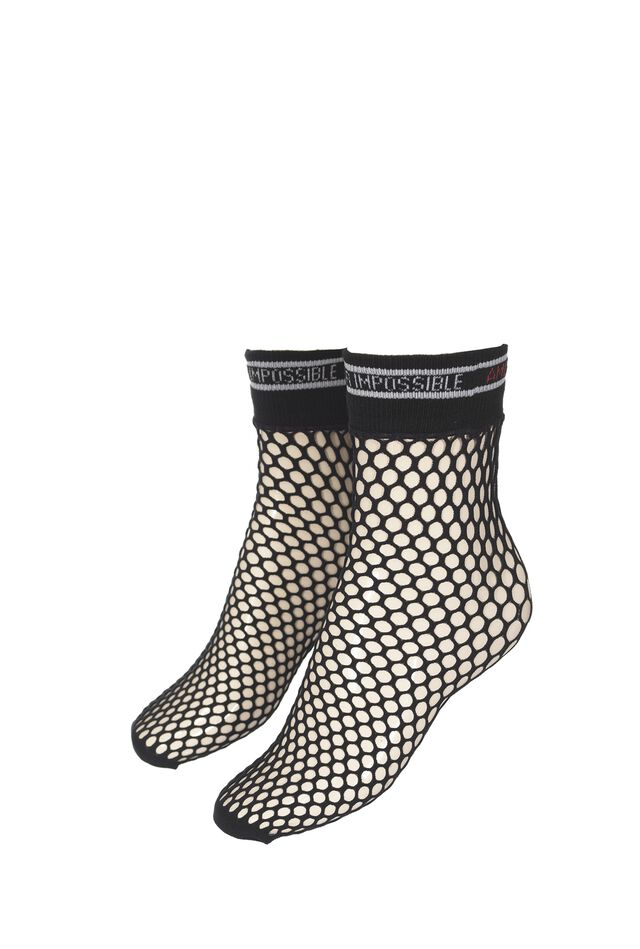 Mesh socks with lettering