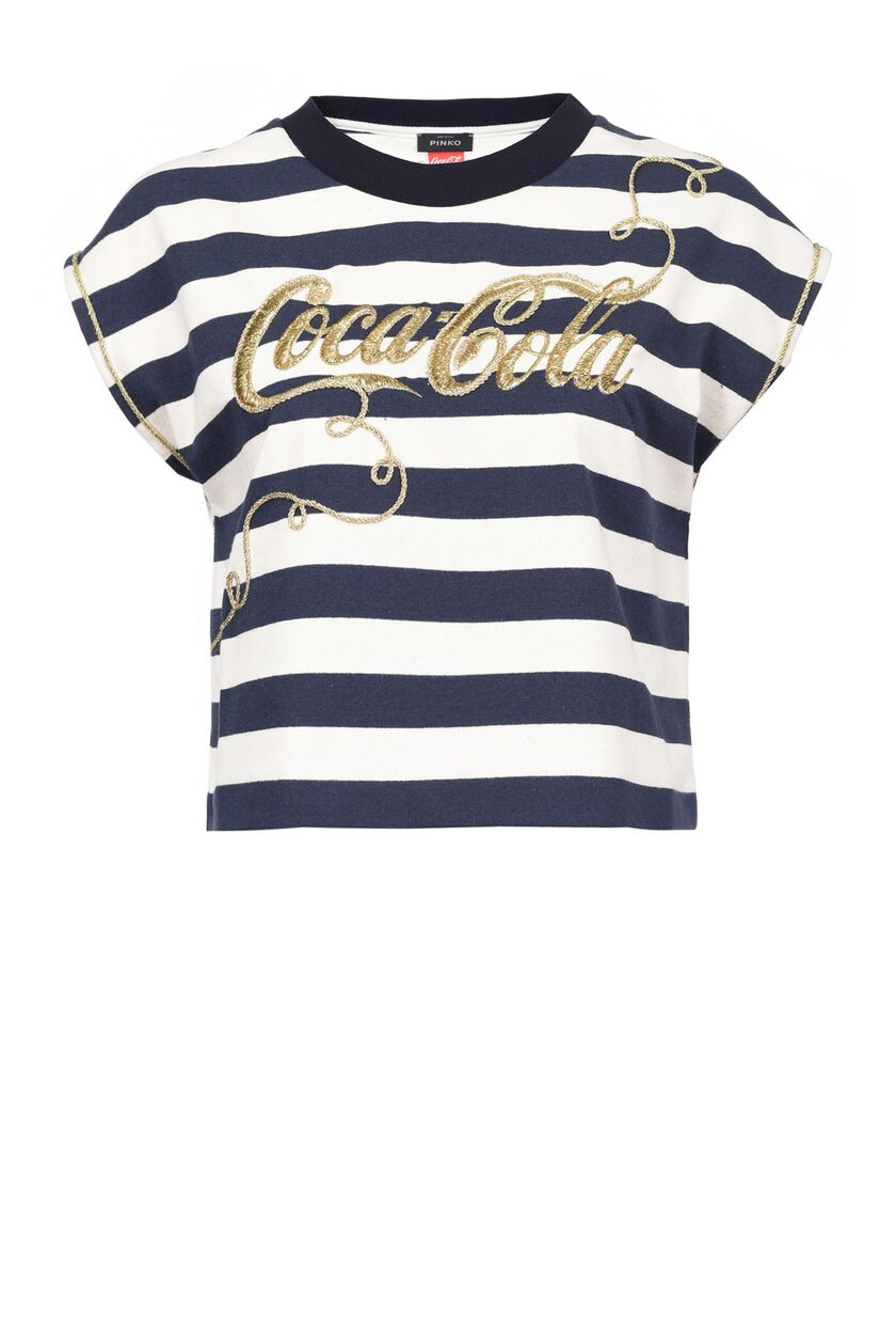Striped and embroidered heavy jersey T-shirt