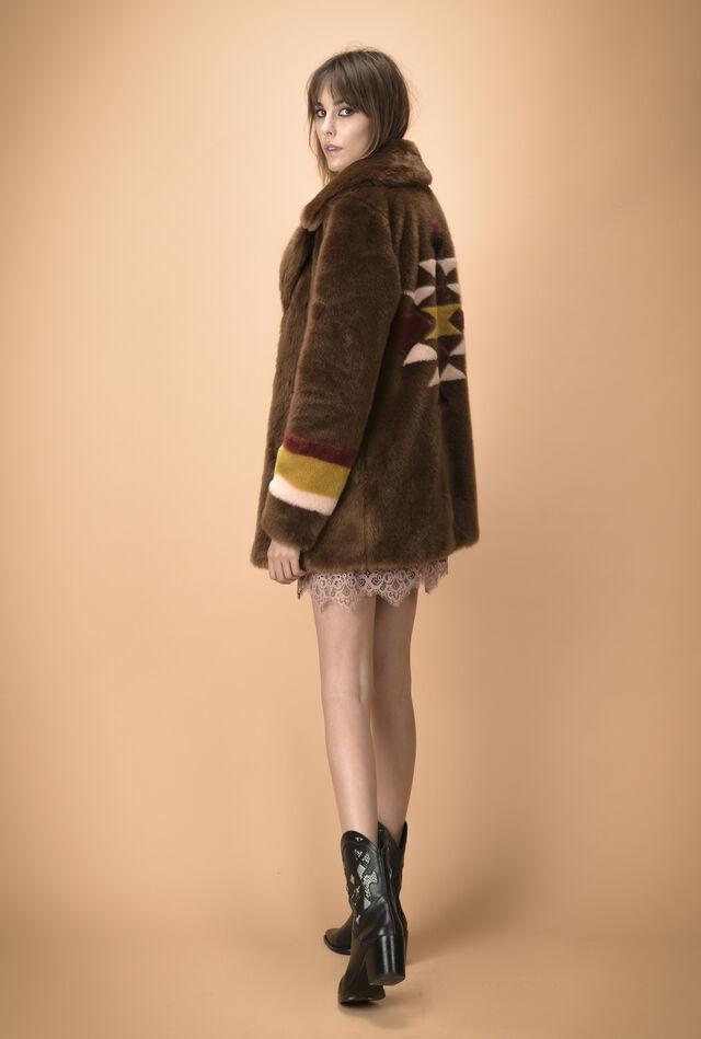 Cappotto in faux fur intarsio navajo