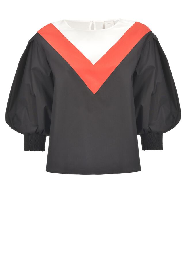 Blusa in popeline stretch color block
