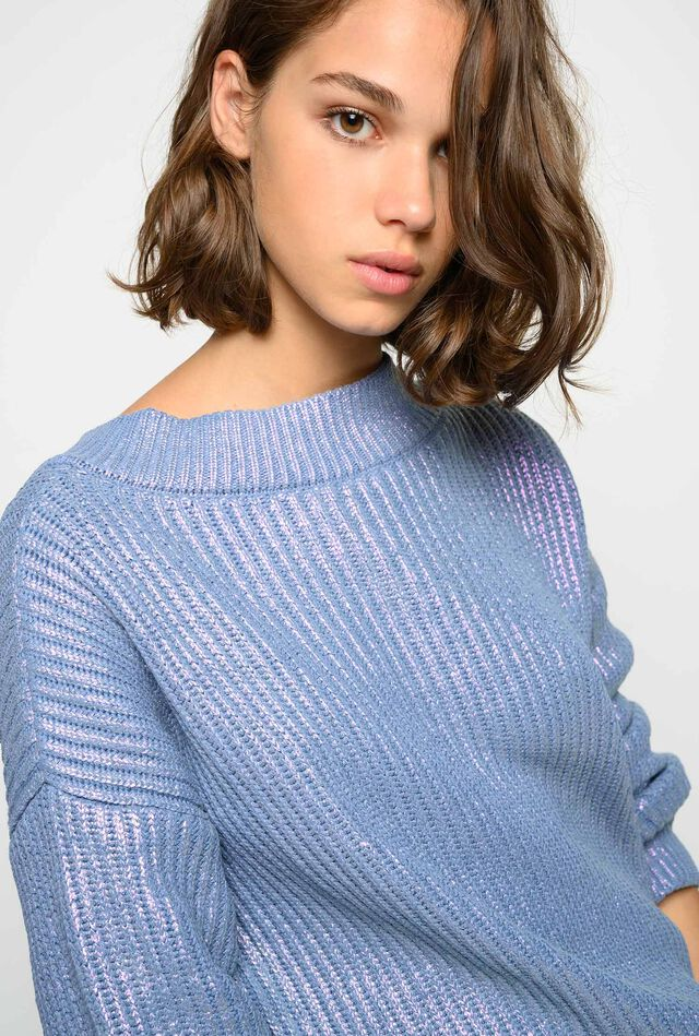 Metallic-effect pullover