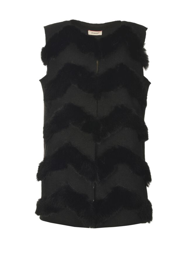 Knitted waistcoat with faux fur inserts