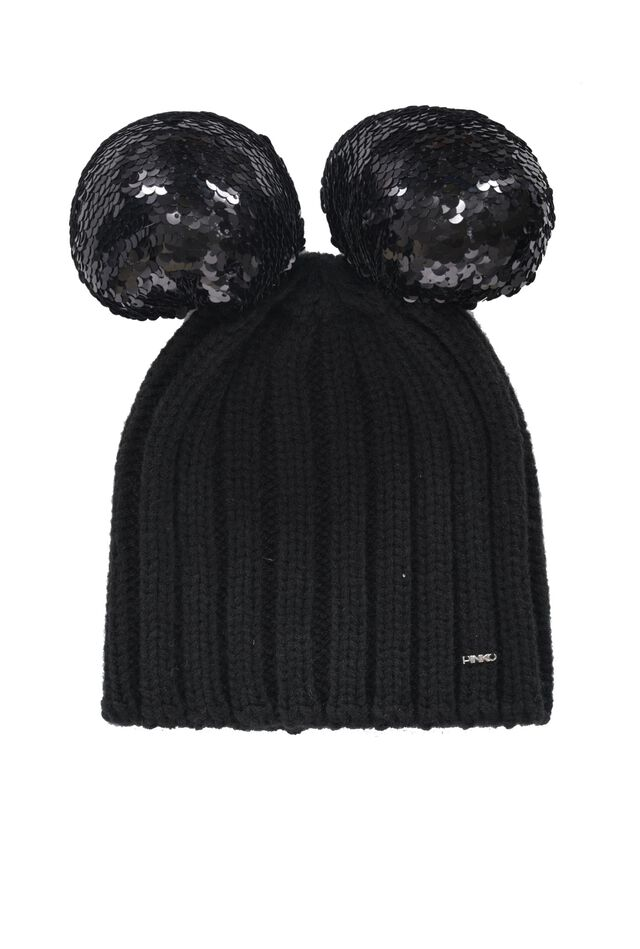 Beanie with sequinned pompoms