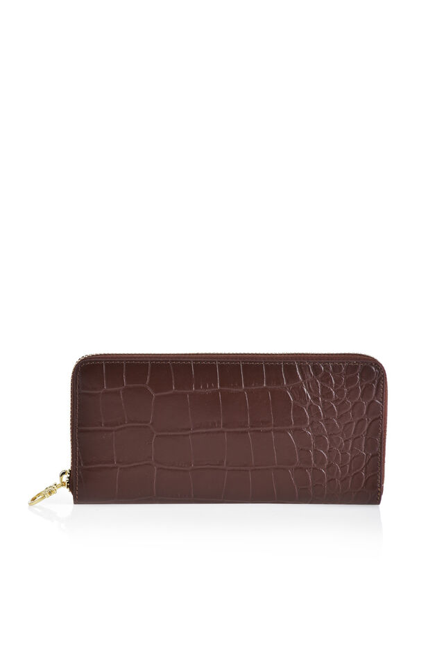 Printed leather wallet with gold fastening