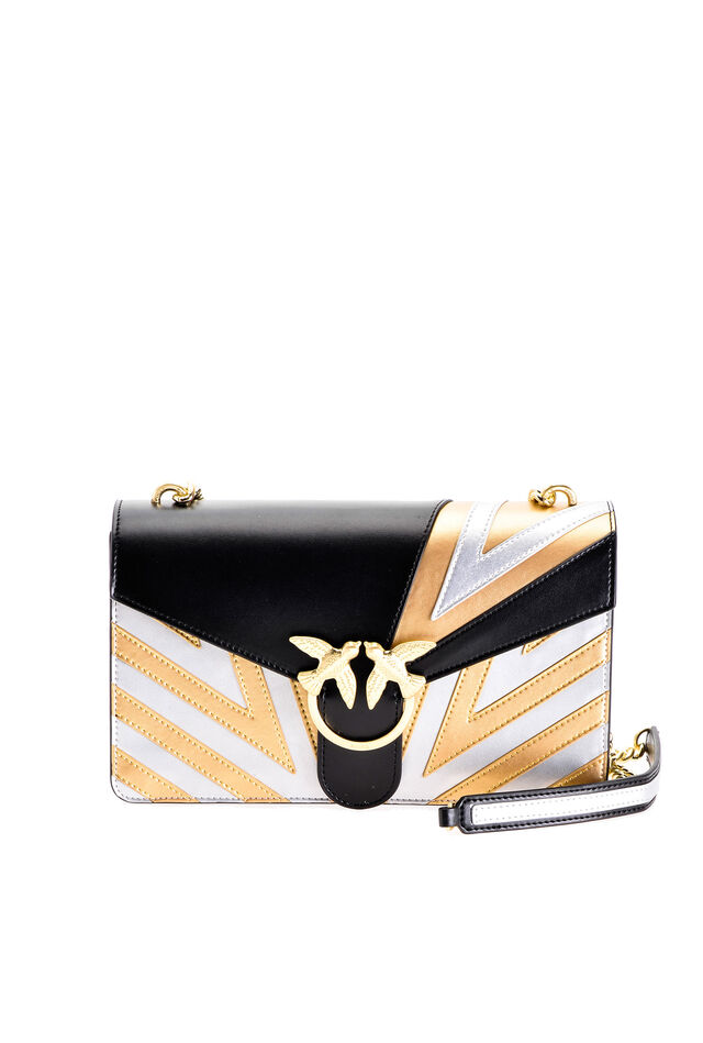 Love Bag Chevron en cuir lamé