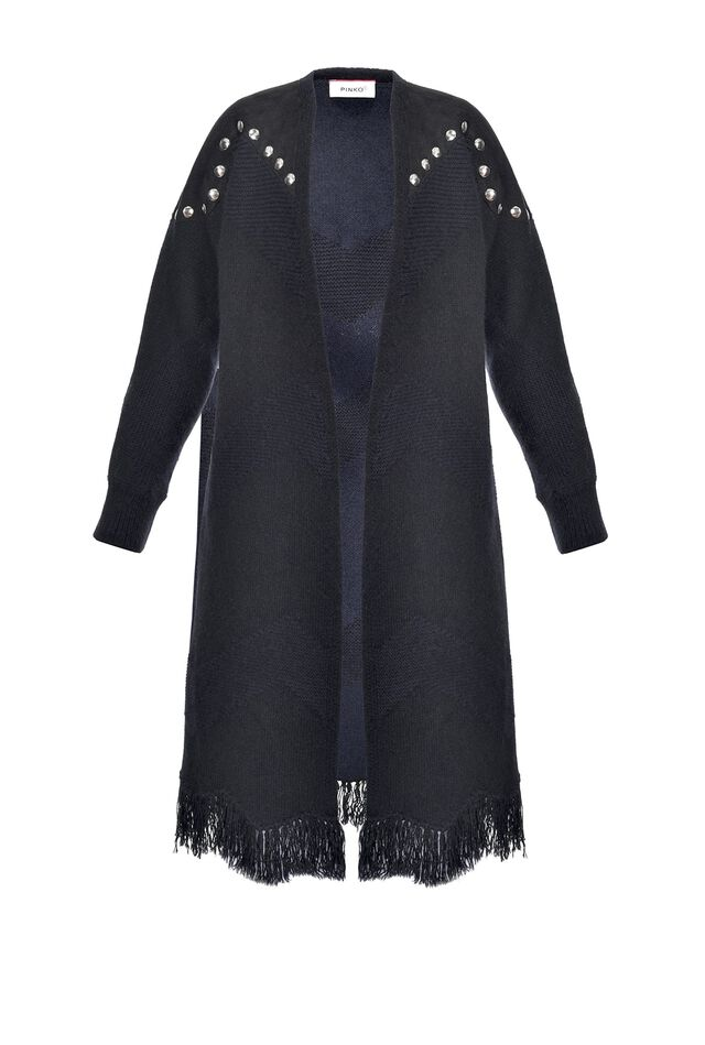 Jacquard coat with studs and fringing