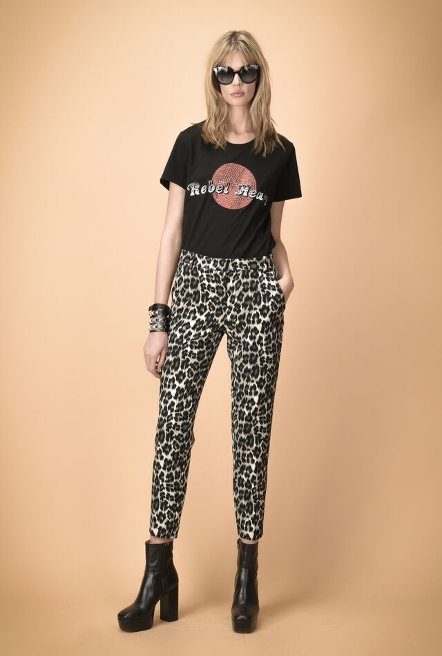 Cigarette trousers in animal-print cady