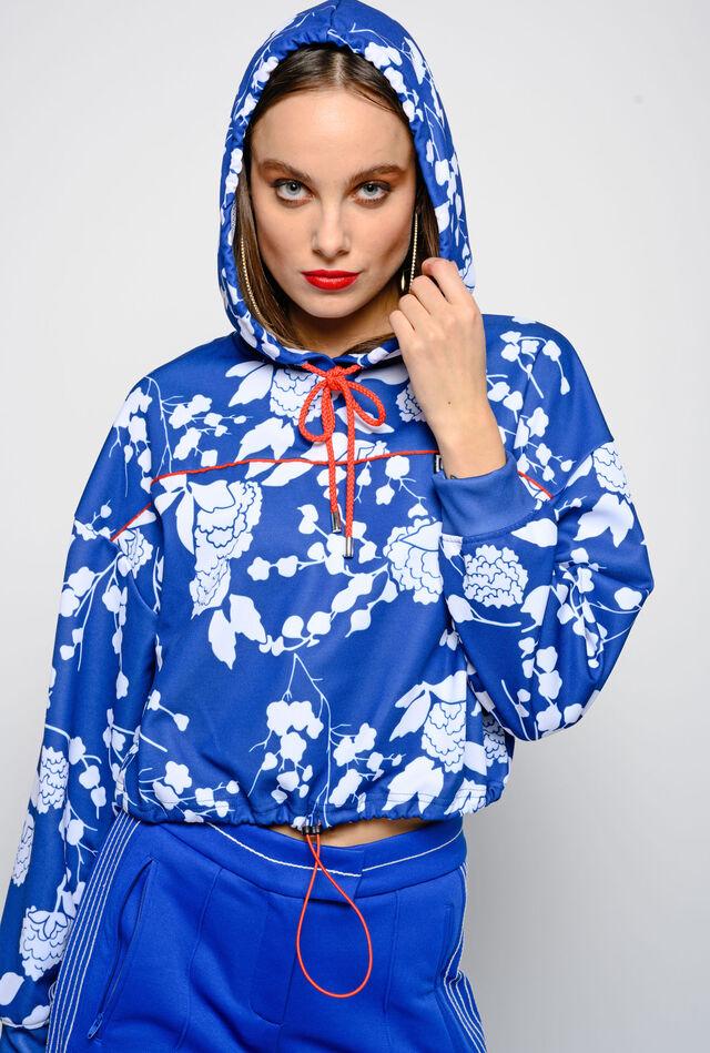 Cropped raspberry print sweatshirt