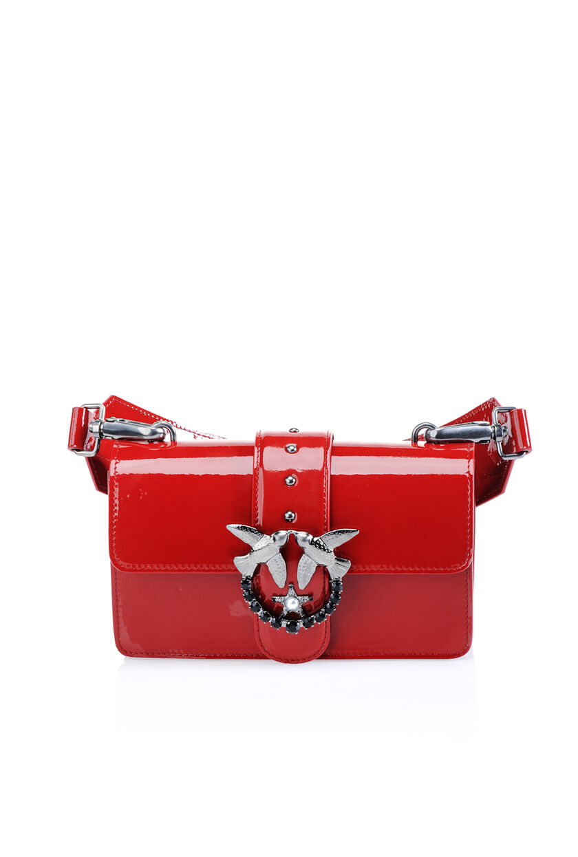 Patent Love Bag with jewel buckle