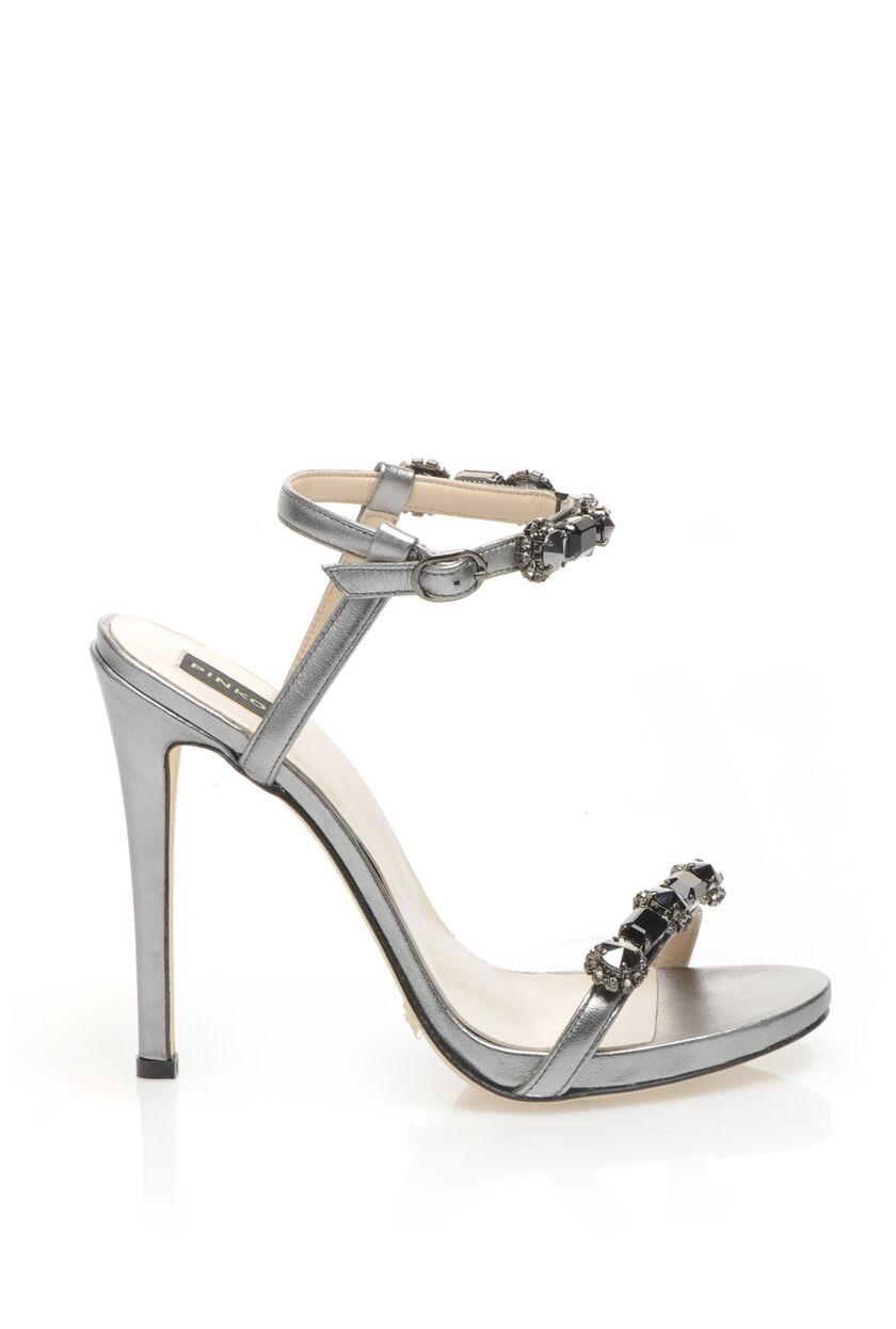 Sandali gioiello di pelle silver