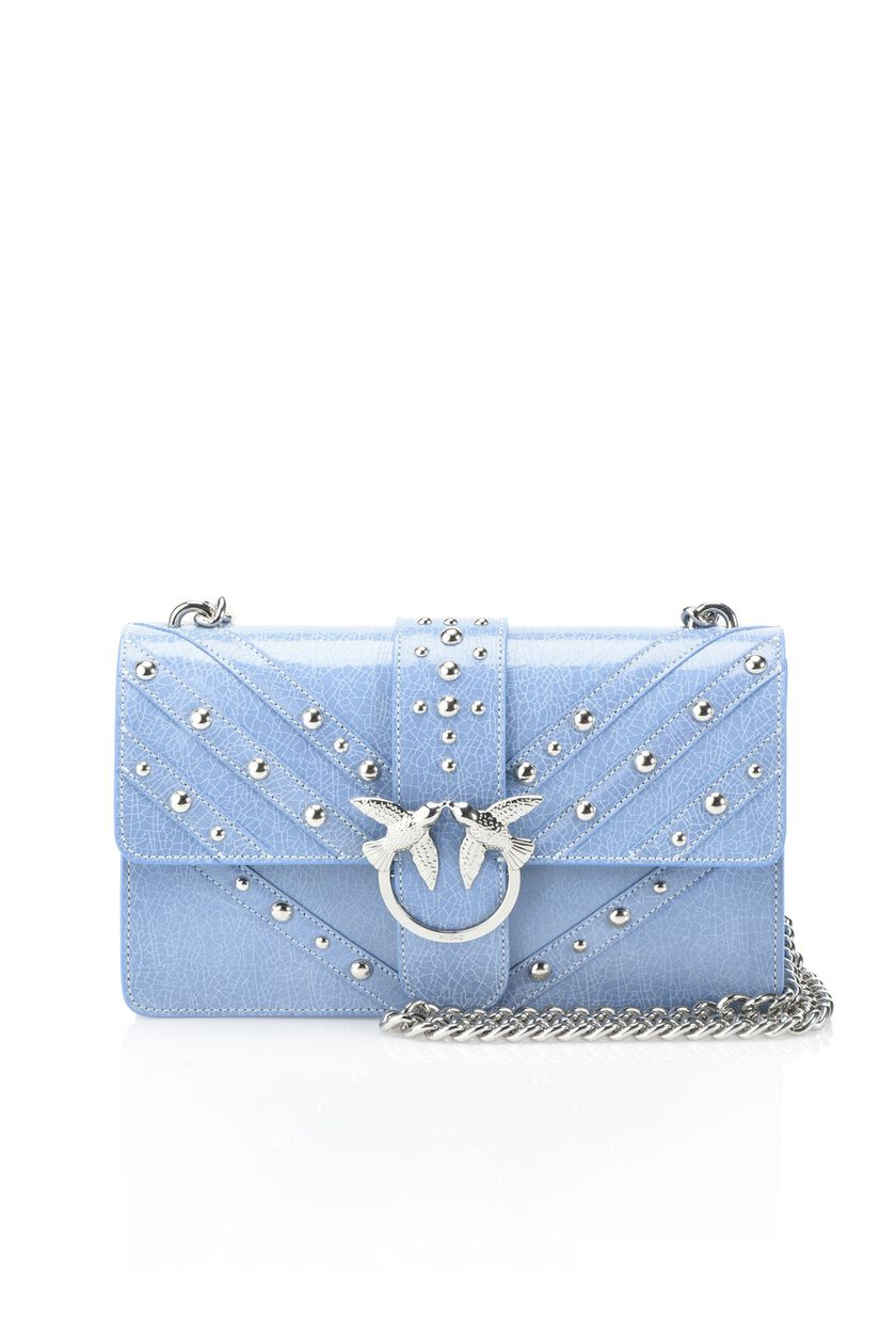 Crackle patent leather shoulder bag with studs