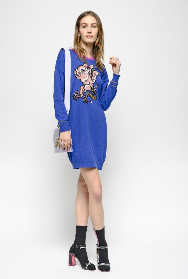 Embroidered cashmere-blend dress