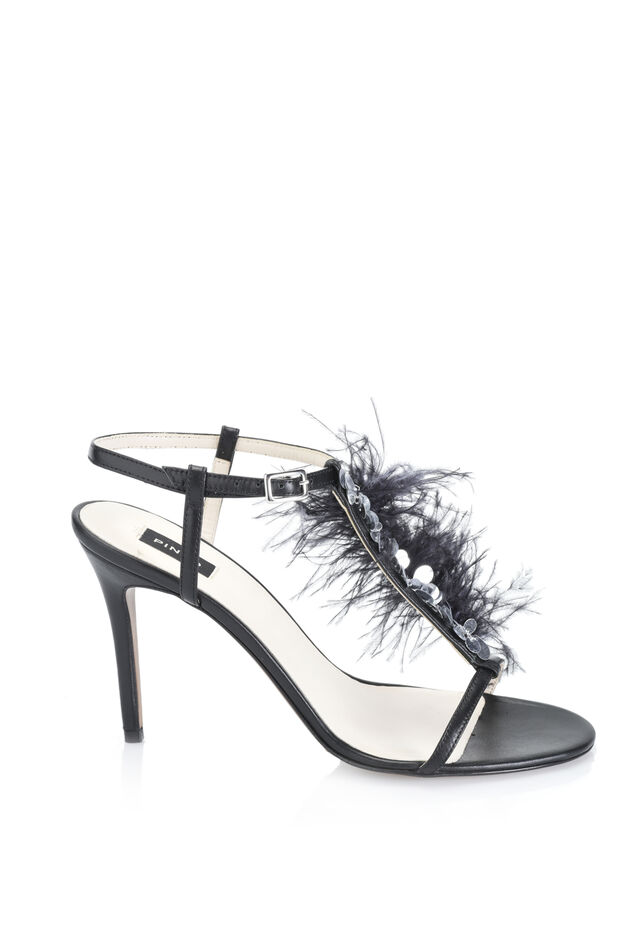 Calfskin sandals with feathers and sequins