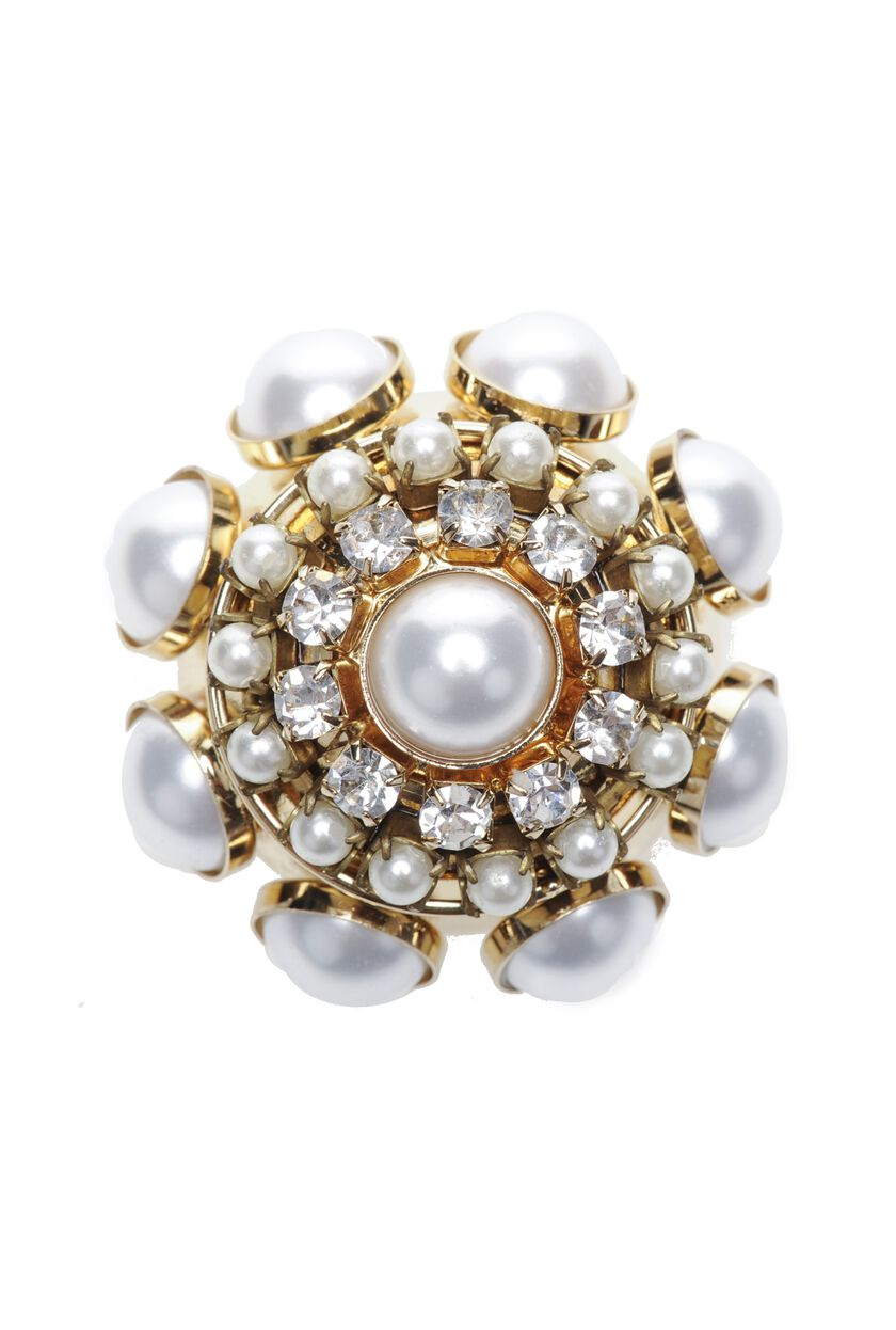 Brooch with beads and rhinestones