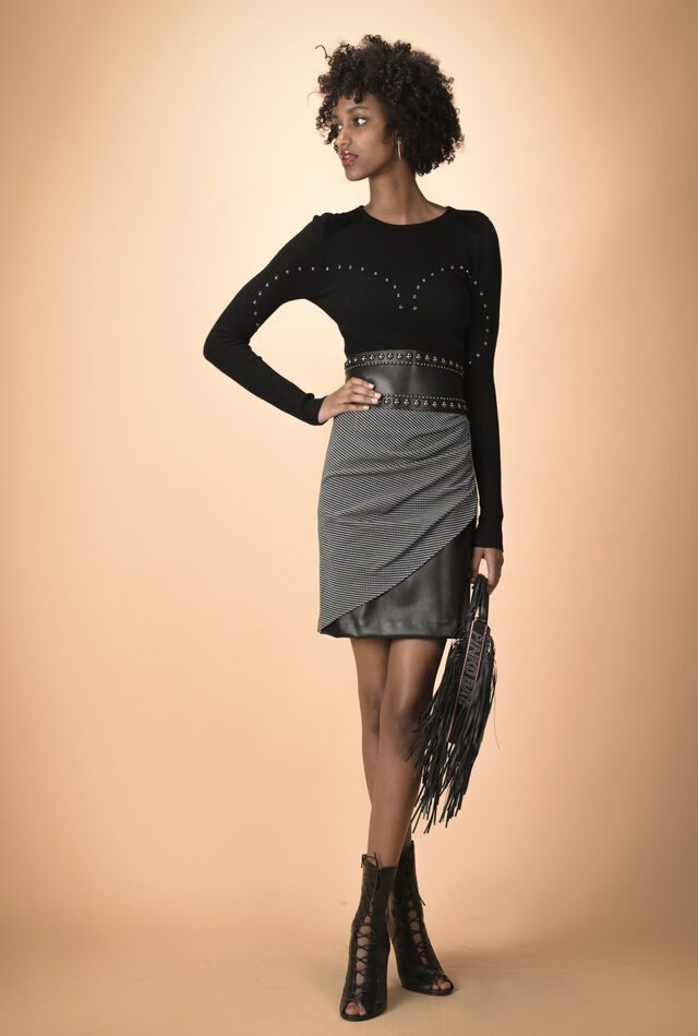 Milano stitch pencil skirt with slit