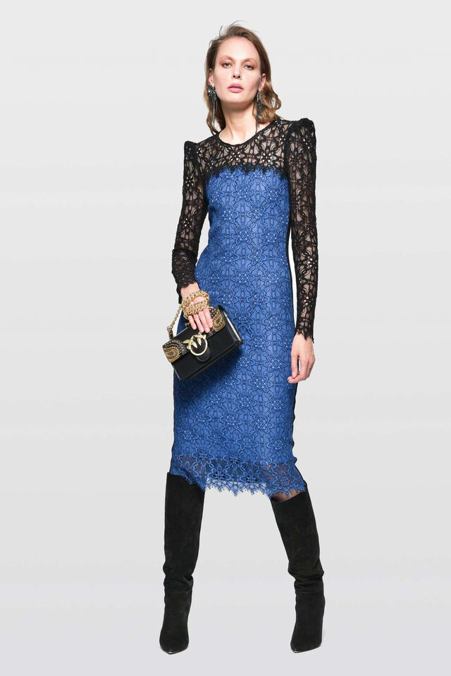Dress in floral rebrodé lace