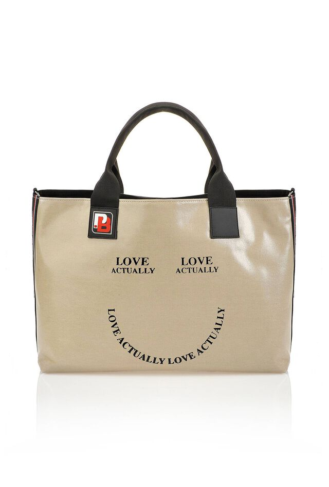 PINKO Bag in waxed canvas with lettering