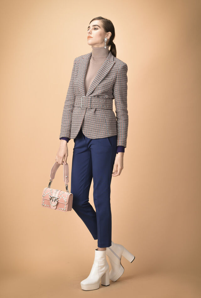 Single-breasted houndstooth jacket